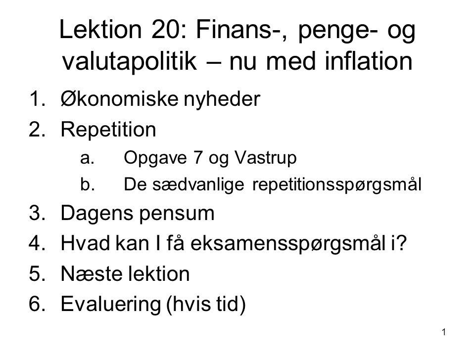 Lektion 20: Finans-, penge- og valutapolitik – nu med inflation