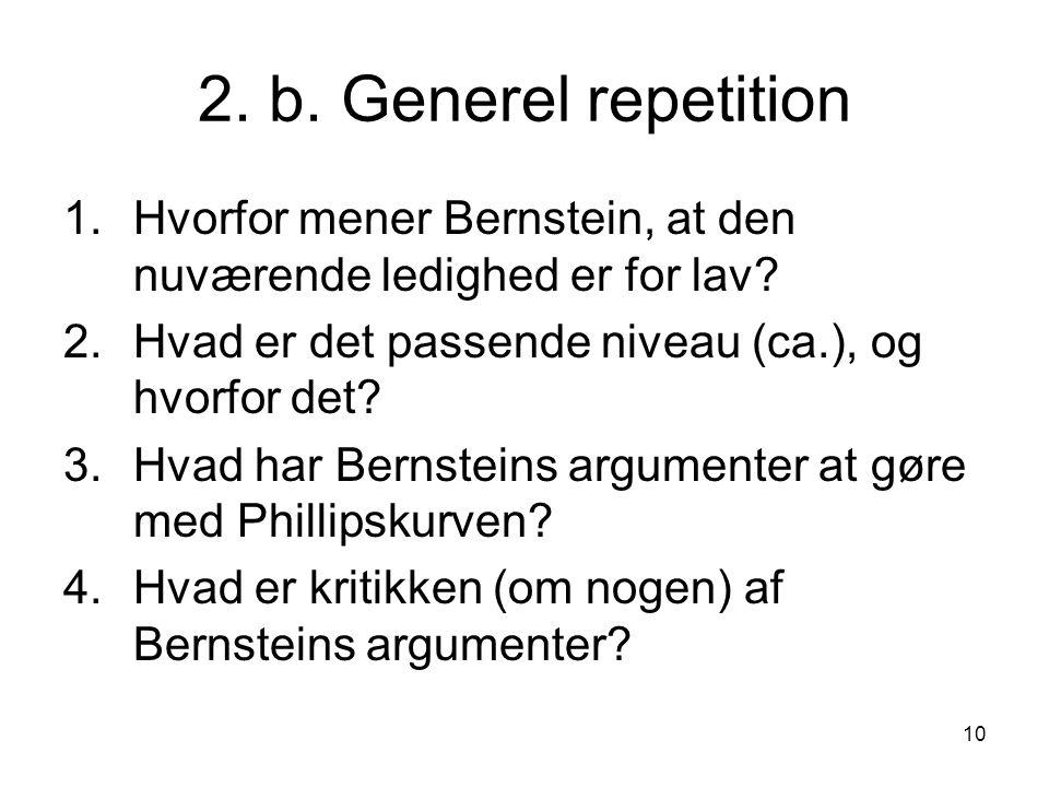 2. b. Generel repetition Hvorfor mener Bernstein, at den nuværende ledighed er for lav Hvad er det passende niveau (ca.), og hvorfor det