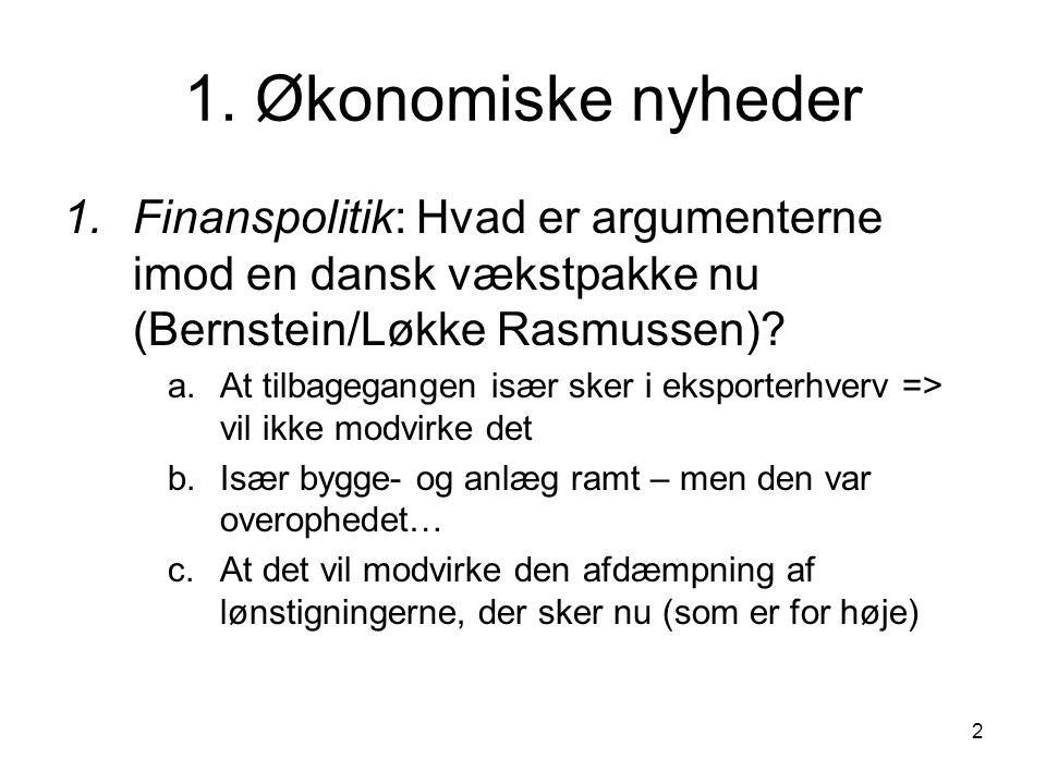 1. Økonomiske nyheder Finanspolitik: Hvad er argumenterne imod en dansk vækstpakke nu (Bernstein/Løkke Rasmussen)