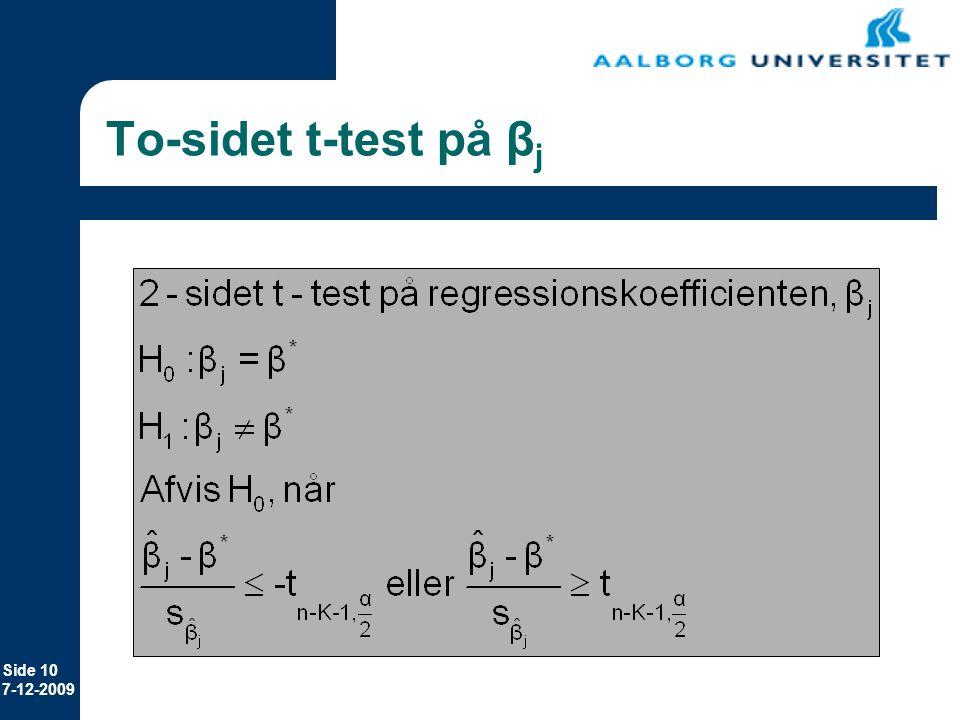 To-sidet t-test på βj