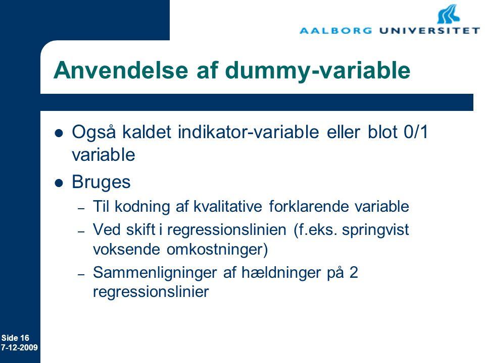 Anvendelse af dummy-variable