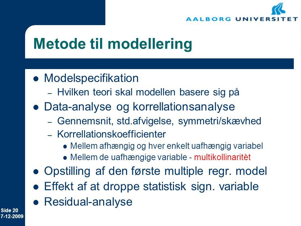 Metode til modellering