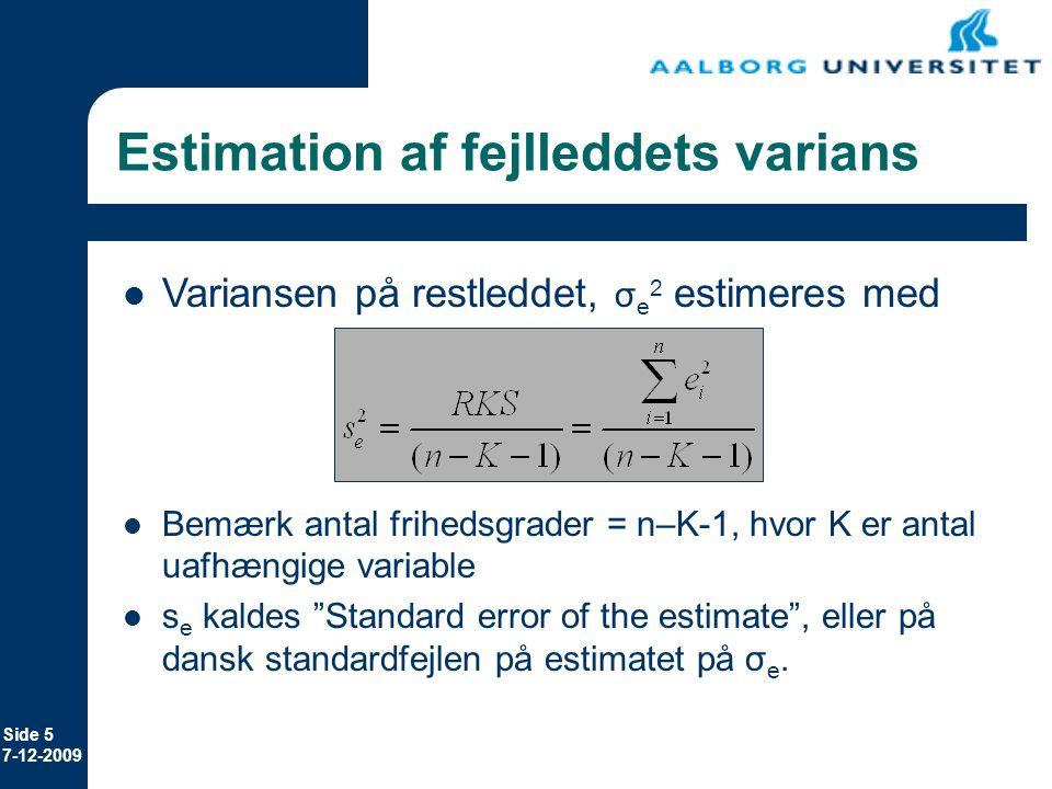 Estimation af fejlleddets varians