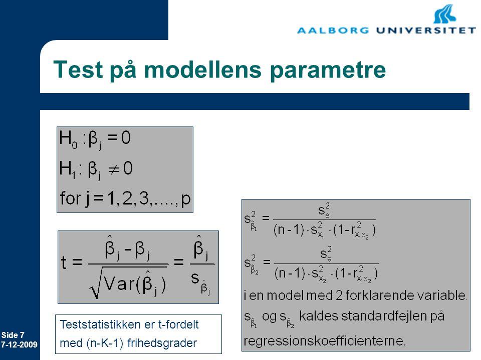 Test på modellens parametre