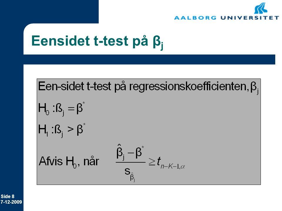 Eensidet t-test på βj