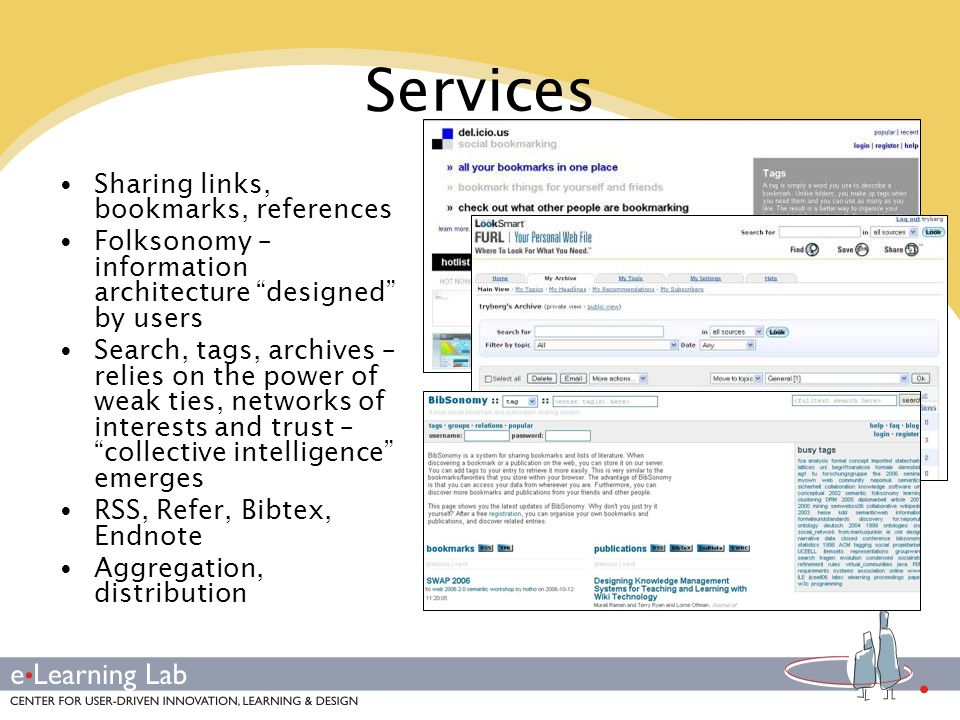Services Sharing links, bookmarks, references