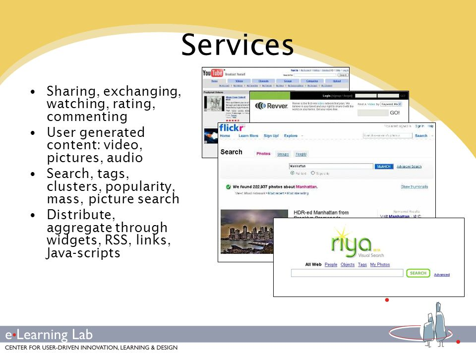 Services Sharing, exchanging, watching, rating, commenting