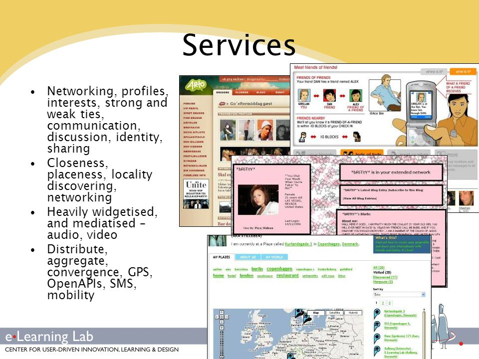 Services Networking, profiles, interests, strong and weak ties, communication, discussion, identity, sharing.