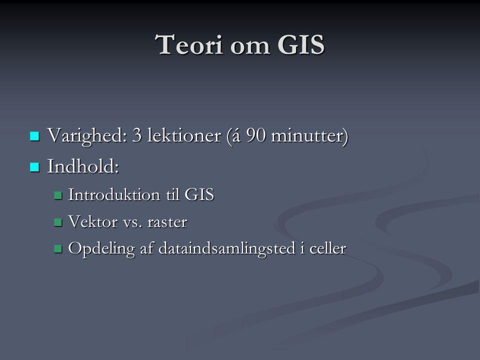 Teori om GIS Varighed: 3 lektioner (á 90 minutter) Indhold:
