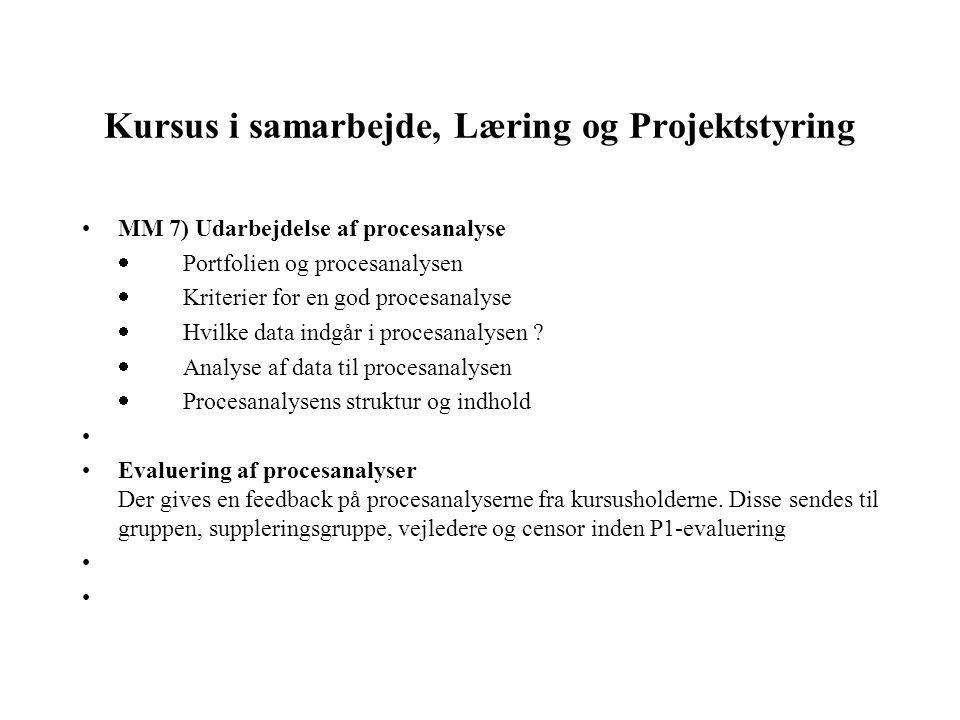 Kursus i samarbejde, Læring og Projektstyring