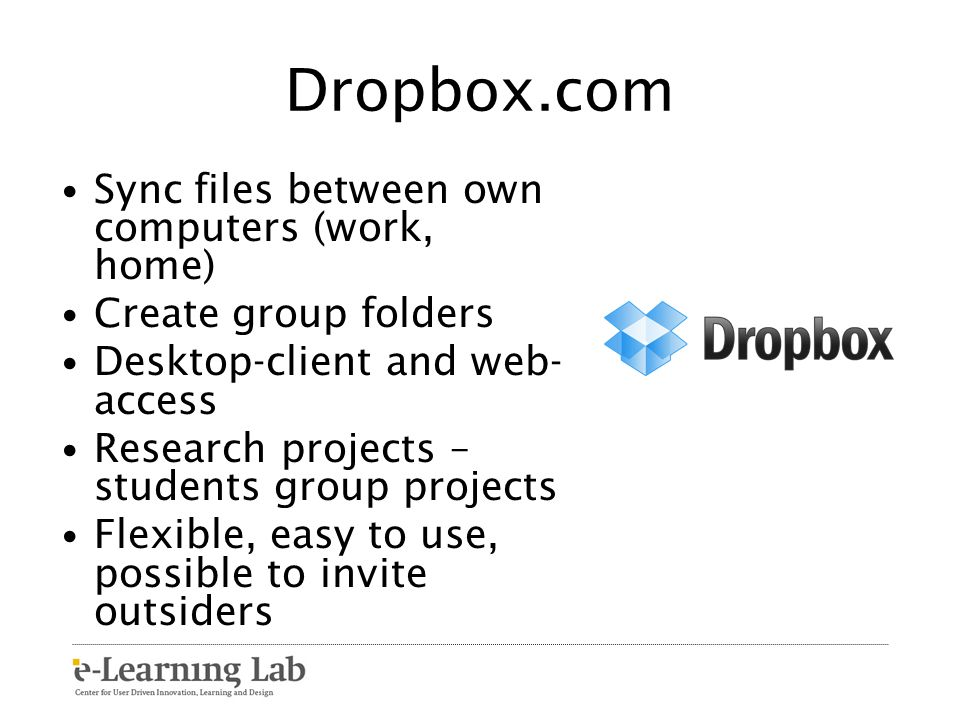 Dropbox.com Sync files between own computers (work, home)
