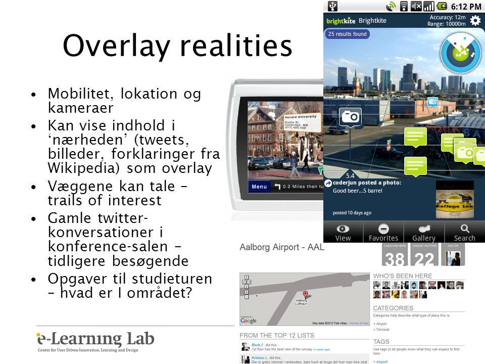 Overlay realities Mobilitet, lokation og kameraer