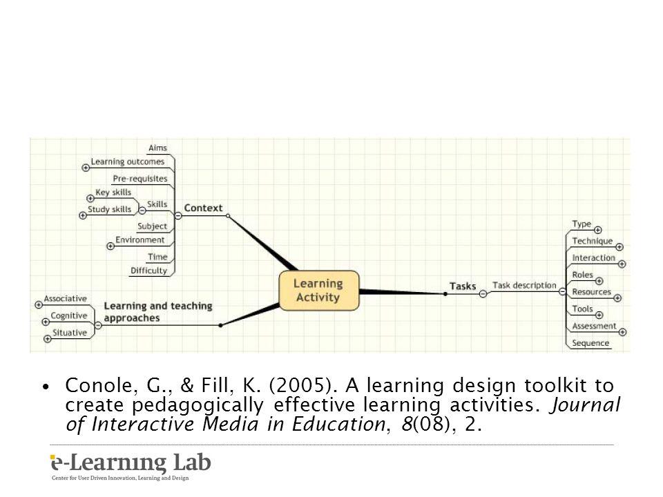 Conole, G., & Fill, K. (2005).
