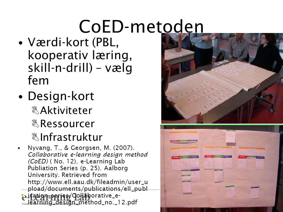 CoED-metoden Værdi-kort (PBL, kooperativ læring, skill-n-drill) – vælg fem. Design-kort. Aktiviteter.