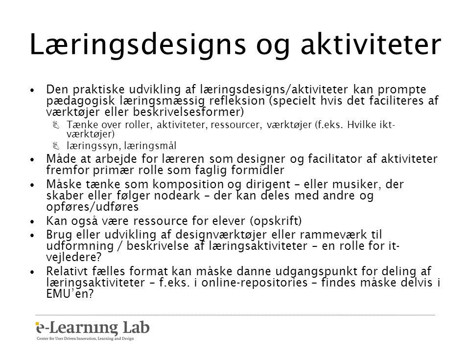 Læringsdesigns og aktiviteter