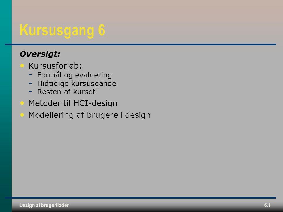 Kursusgang 6 Oversigt: Kursusforløb: Metoder til HCI-design