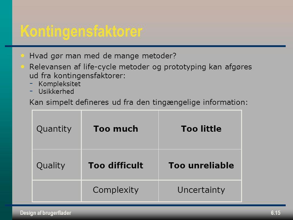 Kontingensfaktorer Quantity Too much Too little