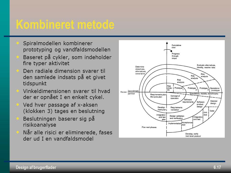 Kombineret metode Spiralmodellen kombinerer prototyping og vandfaldsmodellen. Baseret på cykler, som indeholder fire typer aktivitet.