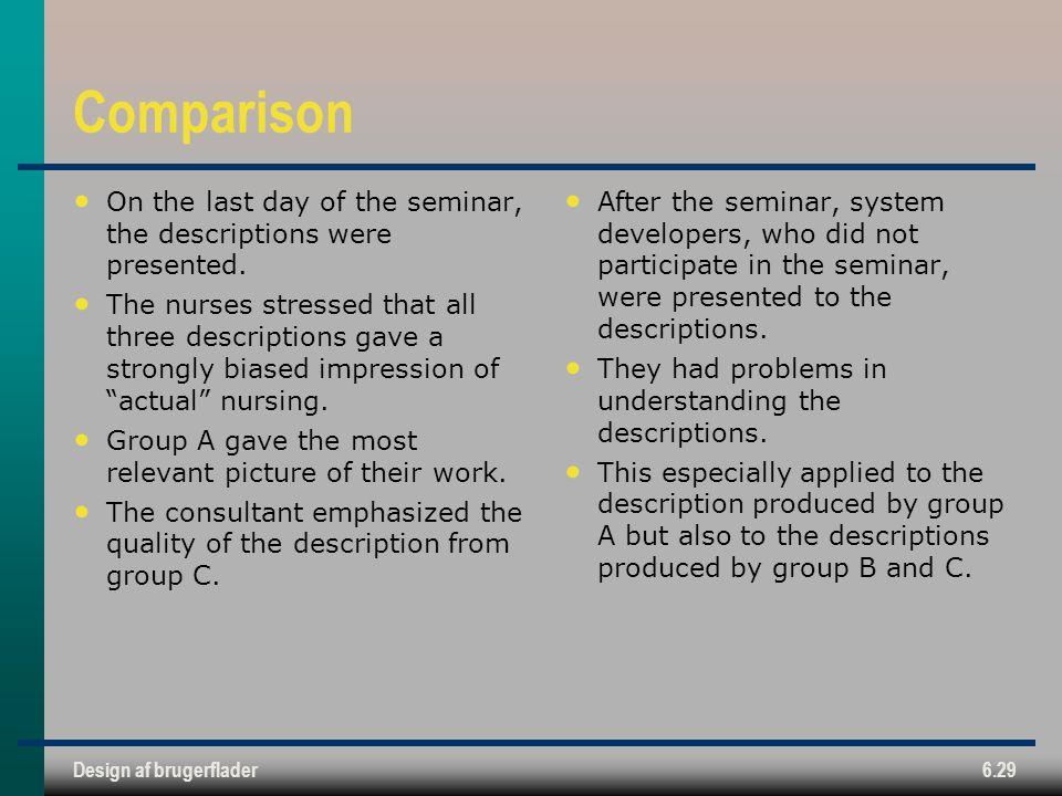 Comparison On the last day of the seminar, the descriptions were presented.