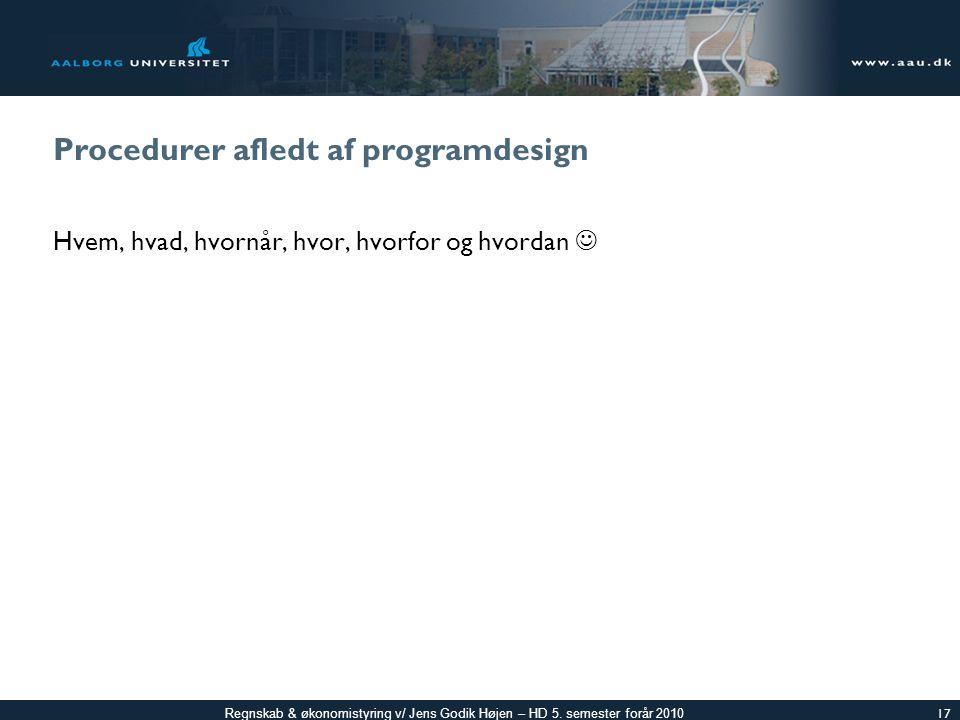 Procedurer afledt af programdesign
