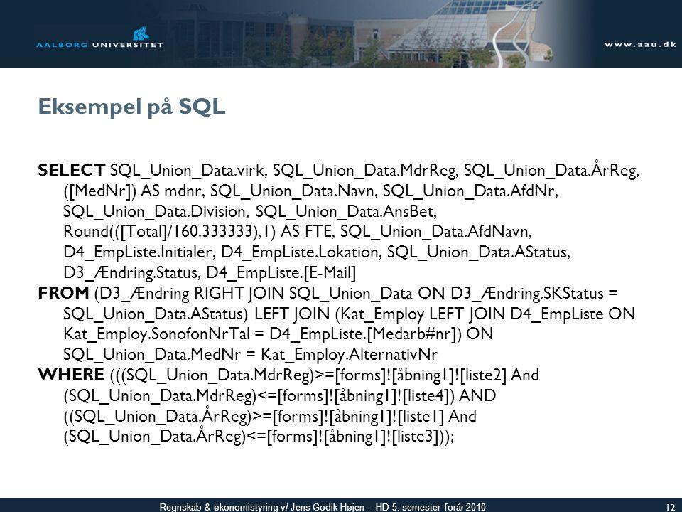 Eksempel på SQL