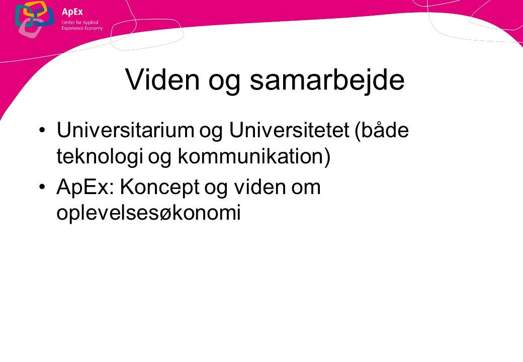 Viden og samarbejde Universitarium og Universitetet (både teknologi og kommunikation) ApEx: Koncept og viden om oplevelsesøkonomi.