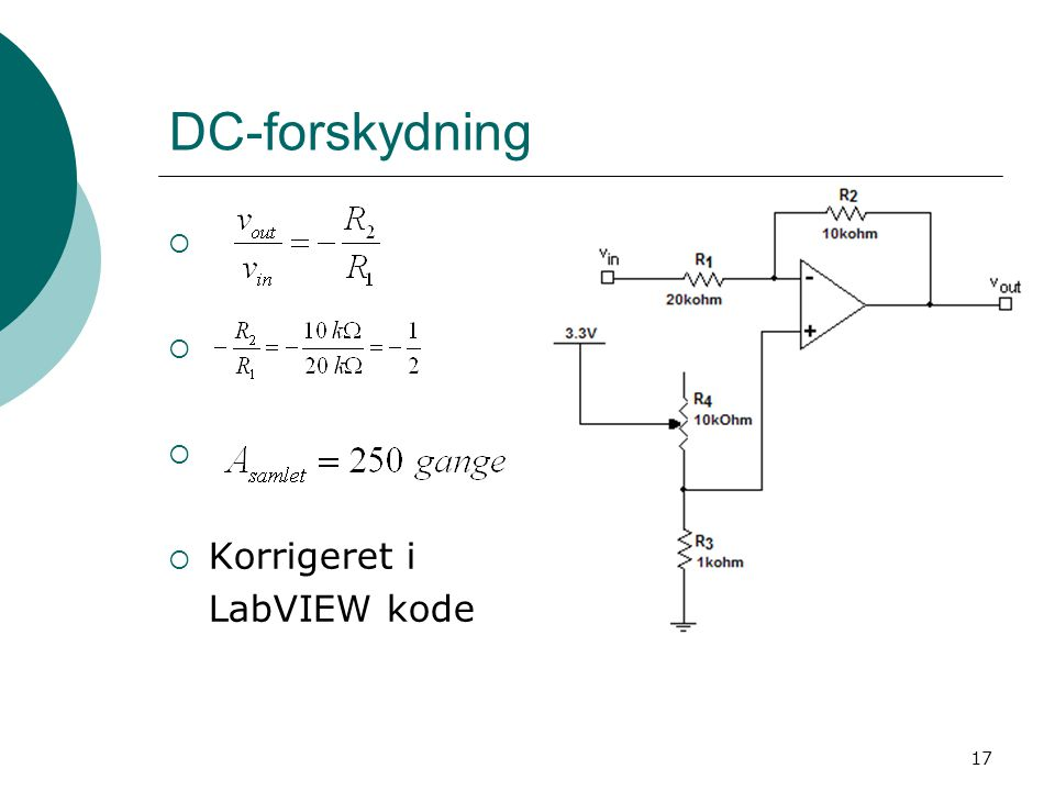 DC-forskydning Korrigeret i LabVIEW kode