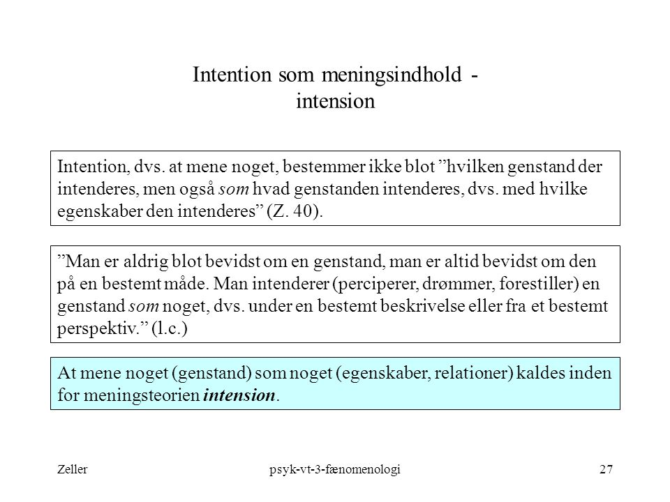 Intention som meningsindhold - intension
