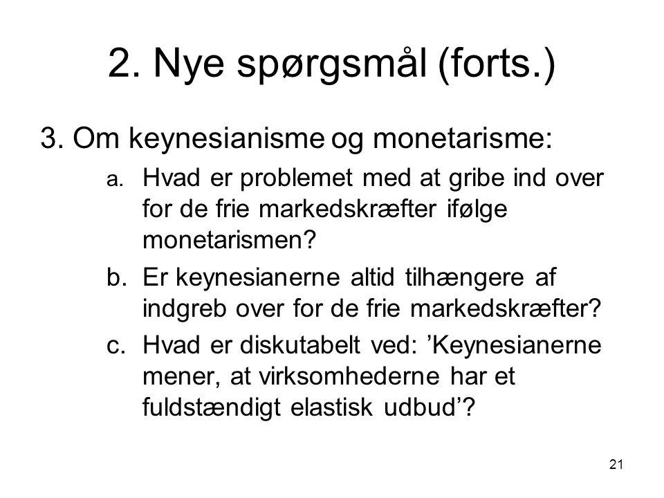 2. Nye spørgsmål (forts.) 3. Om keynesianisme og monetarisme: