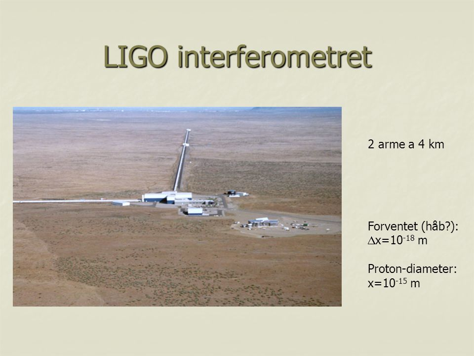 LIGO interferometret 2 arme a 4 km Forventet (håb ): x=10-18 m