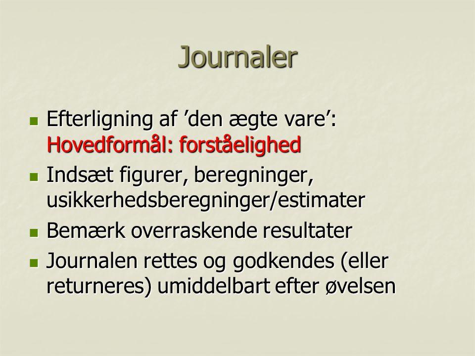Journaler Efterligning af 'den ægte vare': Hovedformål: forståelighed