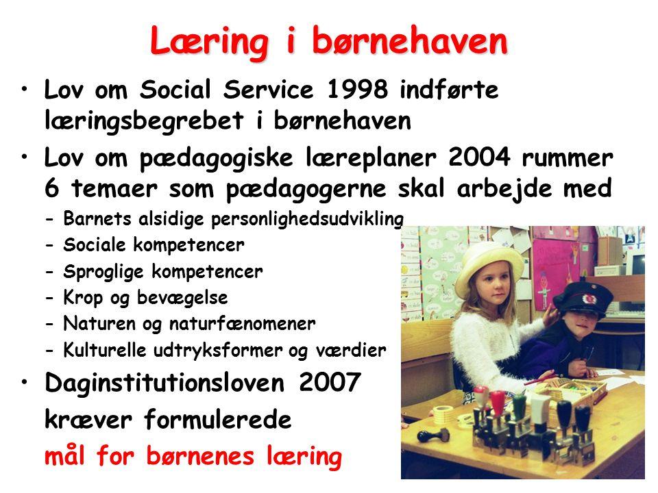 Læring i børnehaven Lov om Social Service 1998 indførte læringsbegrebet i børnehaven.