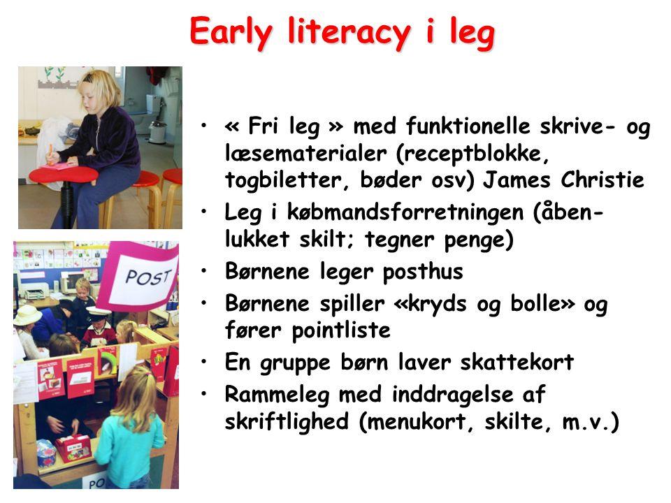 Early literacy i leg « Fri leg » med funktionelle skrive- og læsematerialer (receptblokke, togbiletter, bøder osv) James Christie.