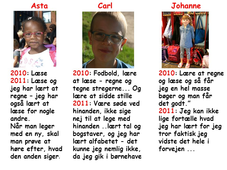 Asta Carl Johanne 2010: Læse
