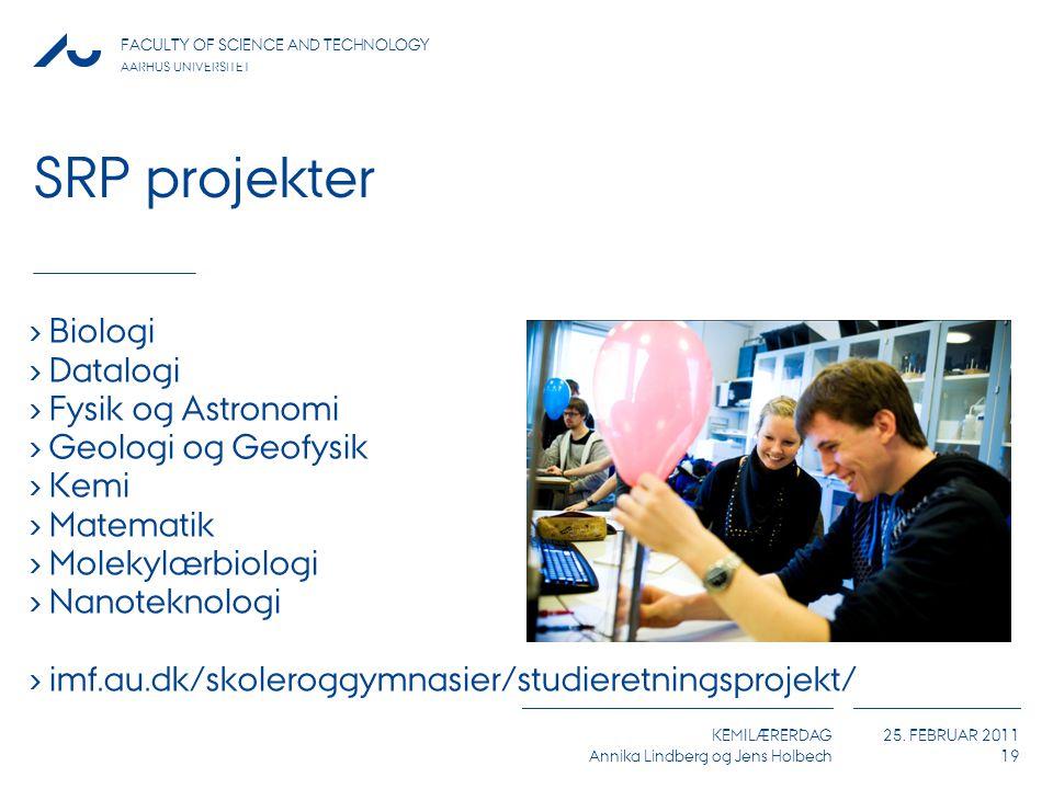 SRP projekter Biologi Datalogi Fysik og Astronomi Geologi og Geofysik