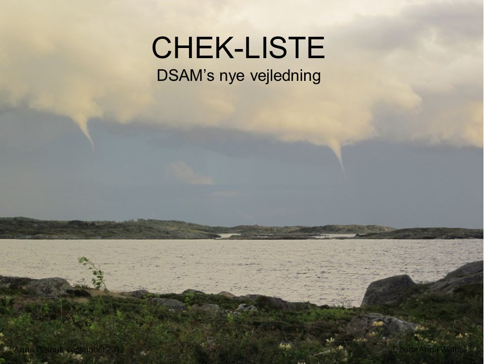 CHEK-LISTE DSAM's nye vejledning