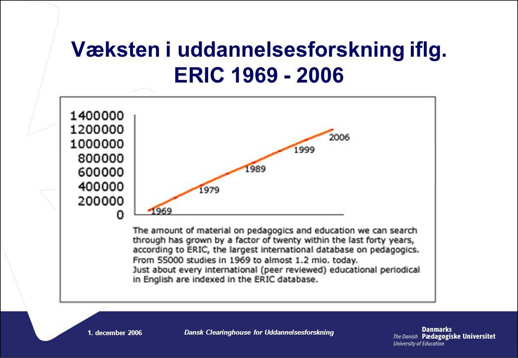 Væksten i uddannelsesforskning iflg. ERIC 1969 - 2006