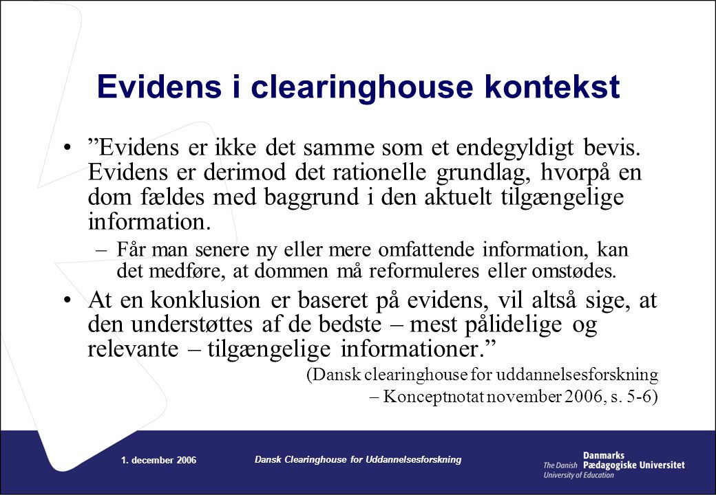 Evidens i clearinghouse kontekst