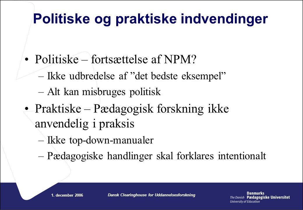 Politiske og praktiske indvendinger