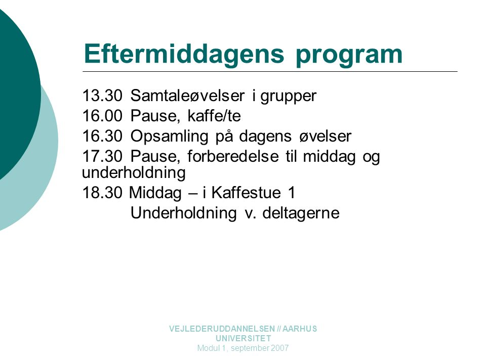 Eftermiddagens program