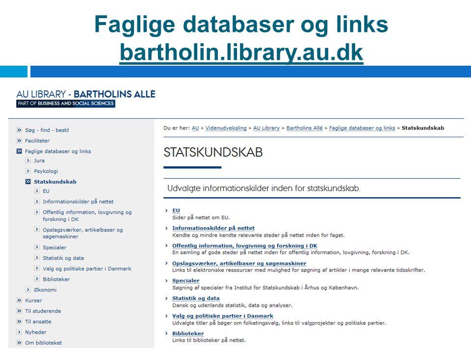 Faglige databaser og links bartholin.library.au.dk