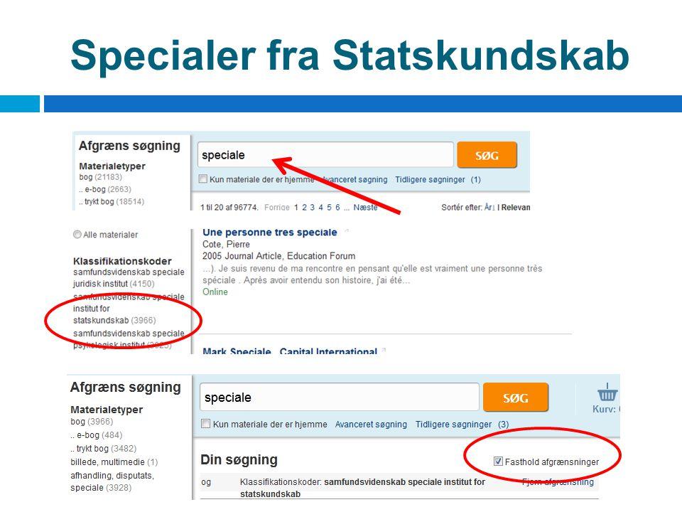 Specialer fra Statskundskab