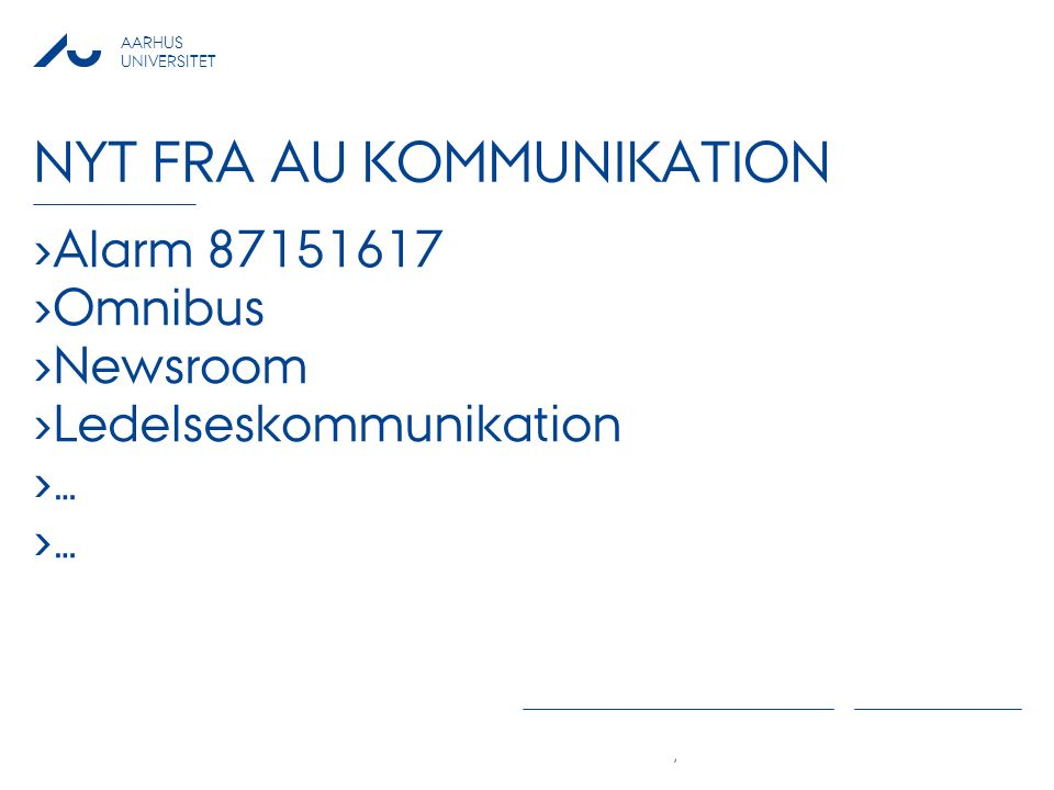 Nyt fra AU Kommunikation