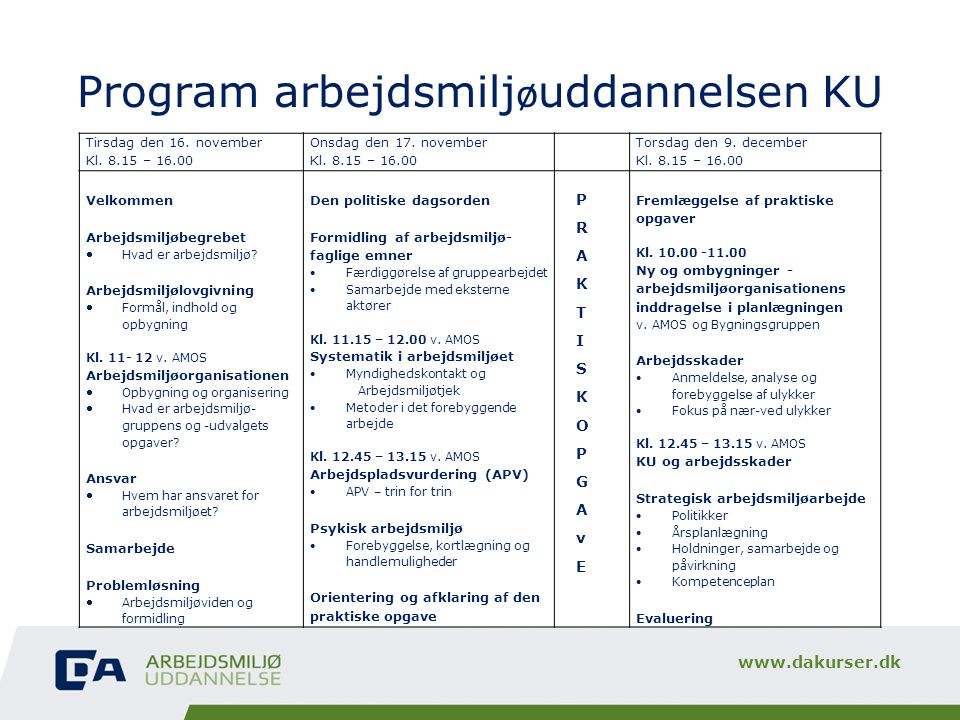 Program arbejdsmiljøuddannelsen KU