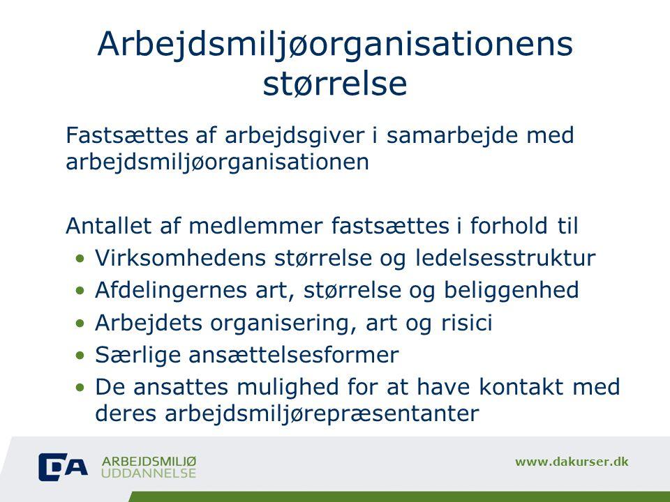 Arbejdsmiljøorganisationens størrelse
