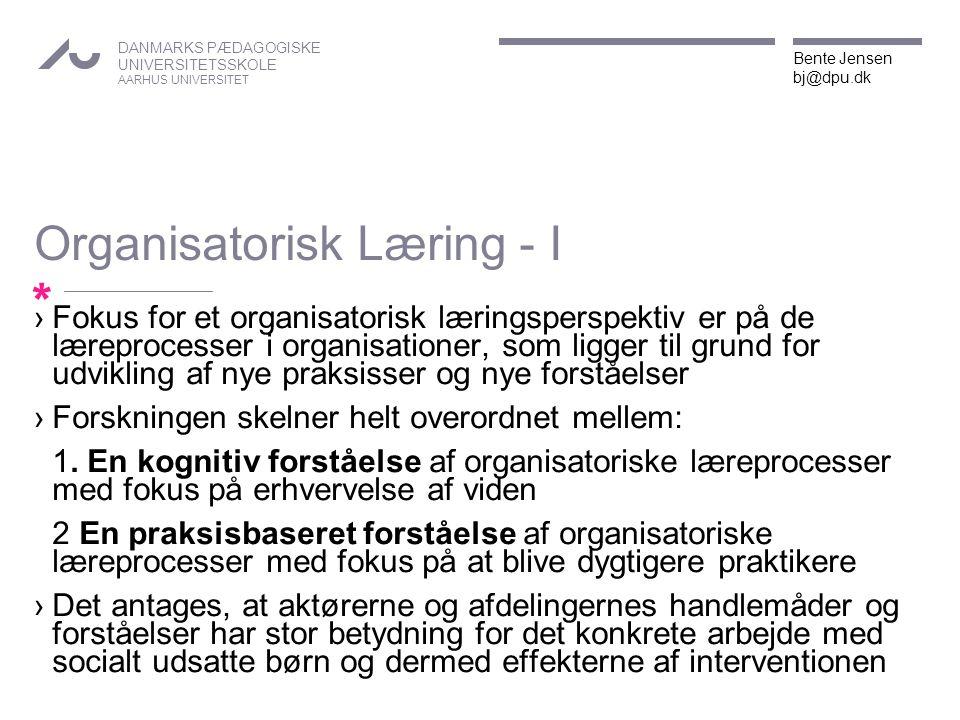 Organisatorisk Læring - I