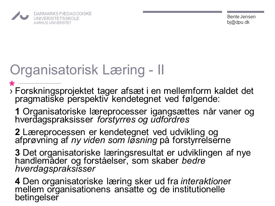 Organisatorisk Læring - II