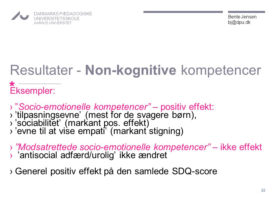 Resultater - Non-kognitive kompetencer