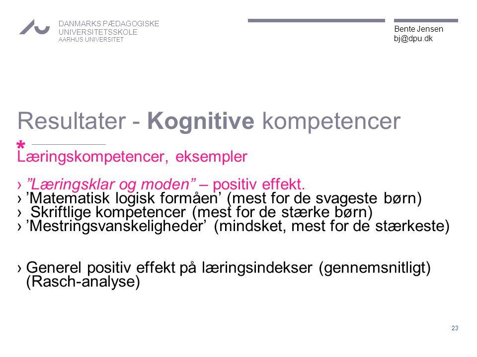 Resultater - Kognitive kompetencer