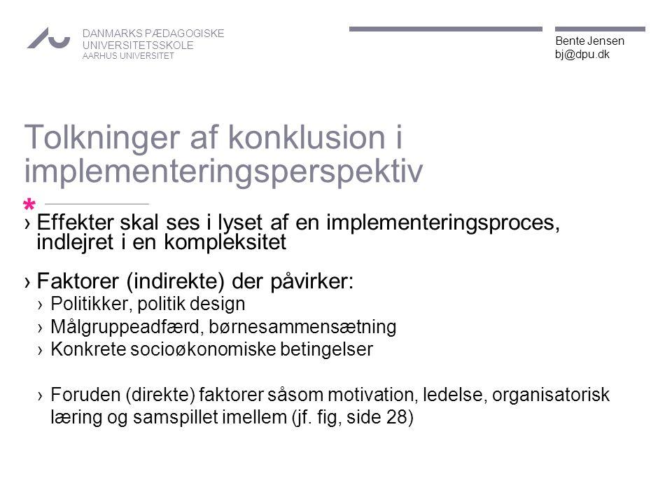 Tolkninger af konklusion i implementeringsperspektiv
